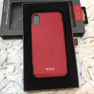 pretty nice 78832 c0894 Tumi Iphone X red case leather wrap NWT